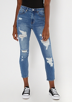 Medium Wash Throwback Ripped Mom Jeans
