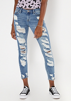 Medium Wash Throwback Extra Ripped Skinny Jeans