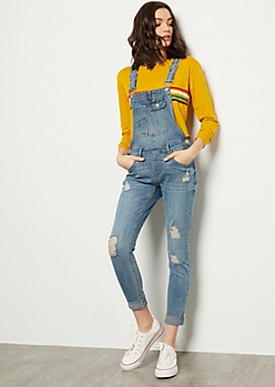 Medium Wash Distressed Skinny Overalls