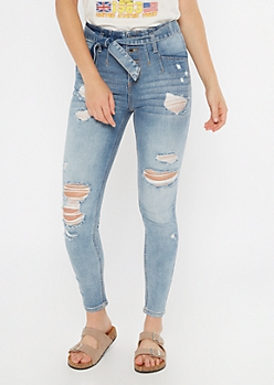 Light Wash Paperbag Waist Ripped Skinny Jeans