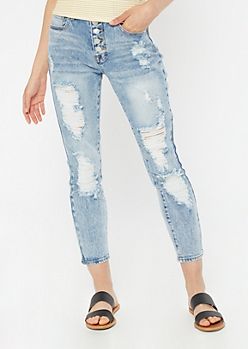 Medium Wash Throwback Ripped Button Fly Mom Jeans