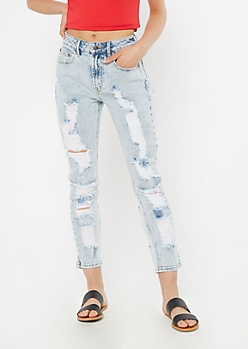 Light Acid Wash Throwback Extra Ripped Mom Jeans