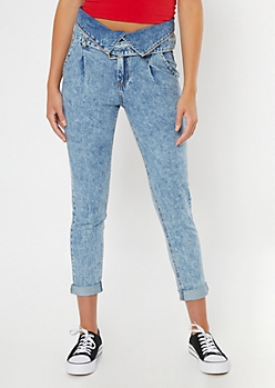 Light Wash Fold Over Paperbag Waist Skinny Jeans