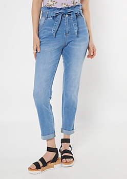 Medium Wash Paperbag Waist Rolled Cuff Jeans