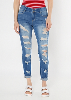 Medium Wash Ripped Rolled Hem Skinny Jeans