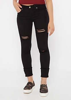 Black Frayed Mid Rise Wide Cuff Jeggings
