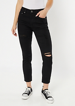 Throwback Black Ripped High Rise Mom Jeans
