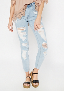 Light Wash High Waisted Ripped Mom Jeans