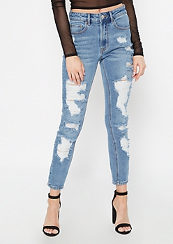 Medium Wash High Waisted Ripped Mom Jeans
