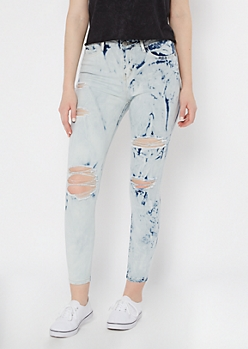 White Cloud Wash Bleached High Waisted Jeggings