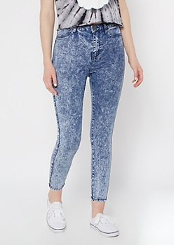 Dark Acid Wash High Waisted Jeggings