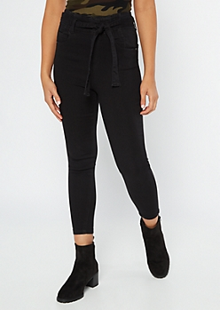 Black High Waisted Paperbag Waist Cropped Pants