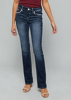 Dark Wash Mid Rise Stitched Pocket Bootcut Jeans