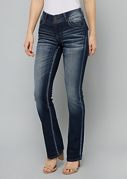 Dark Wash Embroidered Pocket Bootcut Jeans