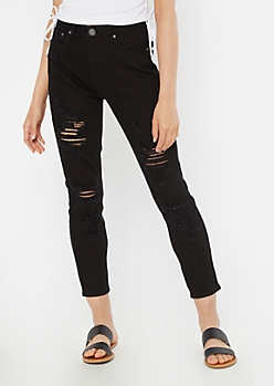 Black Throwback Ripped Mom Jeans