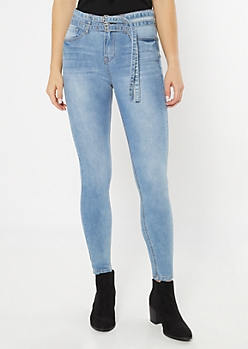 Light Wash High Rise Double Belted Jeggings