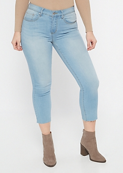 Light Wash Raw Cut Straight Leg Jeans