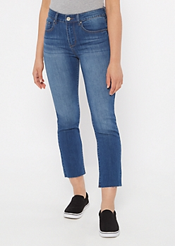 Dark Wash Raw Cut Straight Leg Jeans
