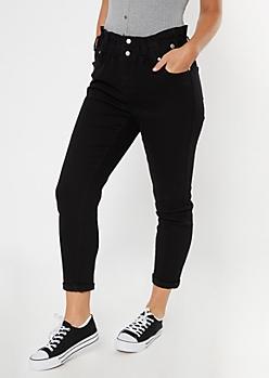 Black Paperbag Waist Rolled Hem Skinny Jeans