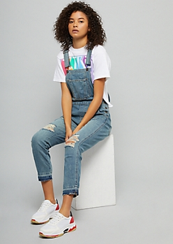 Medium Wash Distressed Raw Hem Jean Overalls