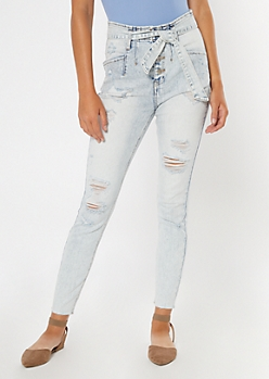 Ultra Light Acid Wash Paperbag Waist Jeggings
