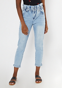 Light Wash Paperbag Waist Cuffed Ankle Skinny Jeans