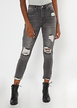 Gray Ripped High Waisted Cuffed Mom Jeans