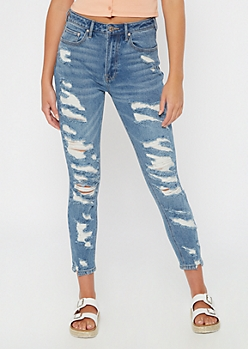 Medium Wash Ripped Ankle Mom Jeans