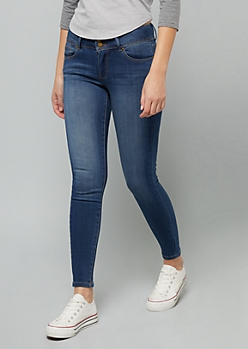 Dark Wash Mid Rise Slim And Shape Jeggings in Curvy