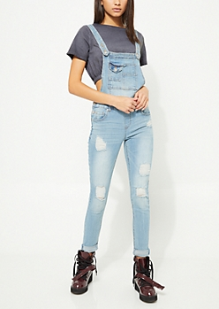 Medium Wash Double Cuff Destroyed Overalls