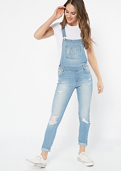 Light Wash Distressed Pocket Jean Overalls