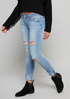 Light Wash Low Rise Frayed Cuffed Ankle Jeans