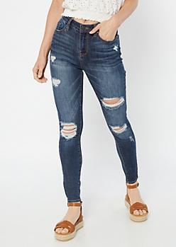 Dark Wash High Waisted Ripped Knee Ankle Jeggings