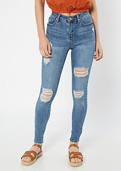 Medium Wash High Waisted Distressed Ankle Jeggings