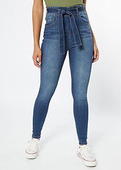 Medium Wash Paperbag Waist Jeggings