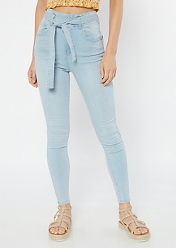 Light Wash Paperbag Waist Jeggings