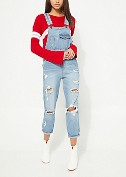 Medium Wash Destroyed Blown Out Knee Overalls