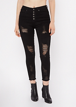 Black Exposed Button Ripped Skinny Jeans