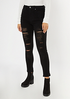Black High Waisted Slit Ripped Mom Jeans