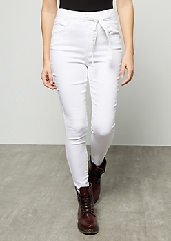 White Uber High Waisted Paperbag Waist Booty Jeans