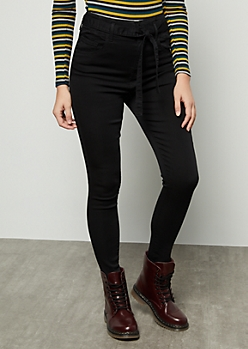 Black Uber High Waisted Paperbag Waist Booty Jeans