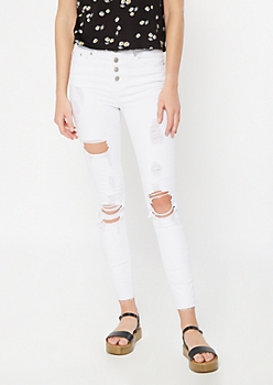 White Destructed High Rise Skinny Jeans