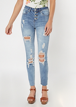 Light Wash Button Down Distressed Skinny Jeans