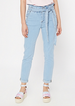 Light Wash Rolled Paperbag Waist Skinny Jeans