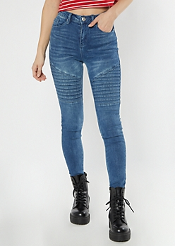 Medium Wash Mid Rise Moto Jeggings