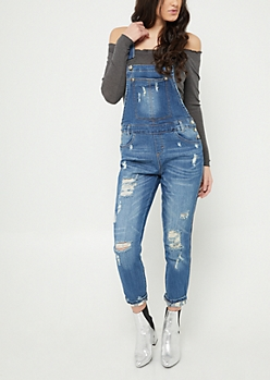 Dark Wash Destroyed Overalls