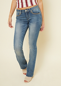 Medium Wash Topstitched Bootcut Jeans