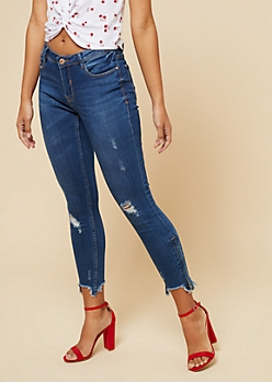 Medium Wash Mid Rise Frayed Zip Ankle Jeans