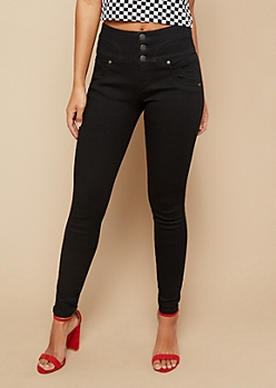 Black High Waisted Sweetheart Triple Button Booty Jeans
