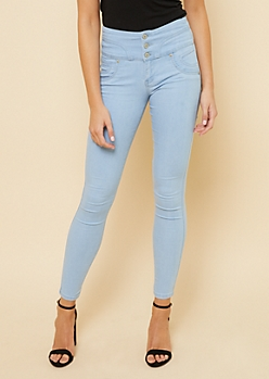 Light Wash High Waisted Sweetheart Triple Button Booty Jeans